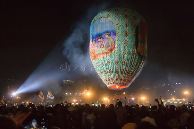 热空气气球节日在东枝,在Inle湖附近,缅甸 免版税图库摄影