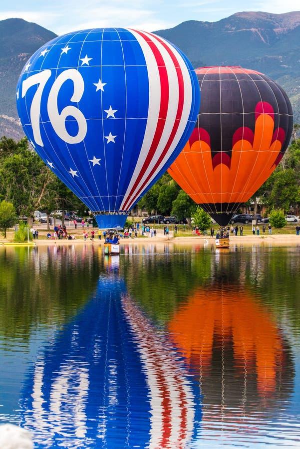 热空气气球节日-每年劳动节离地升空在科罗拉多泉 图库摄影