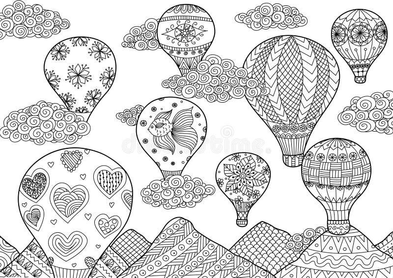 热空气气球飞行, zentangle为反重音的彩图传统化了成人和孩子的-股票 皇族释放例证