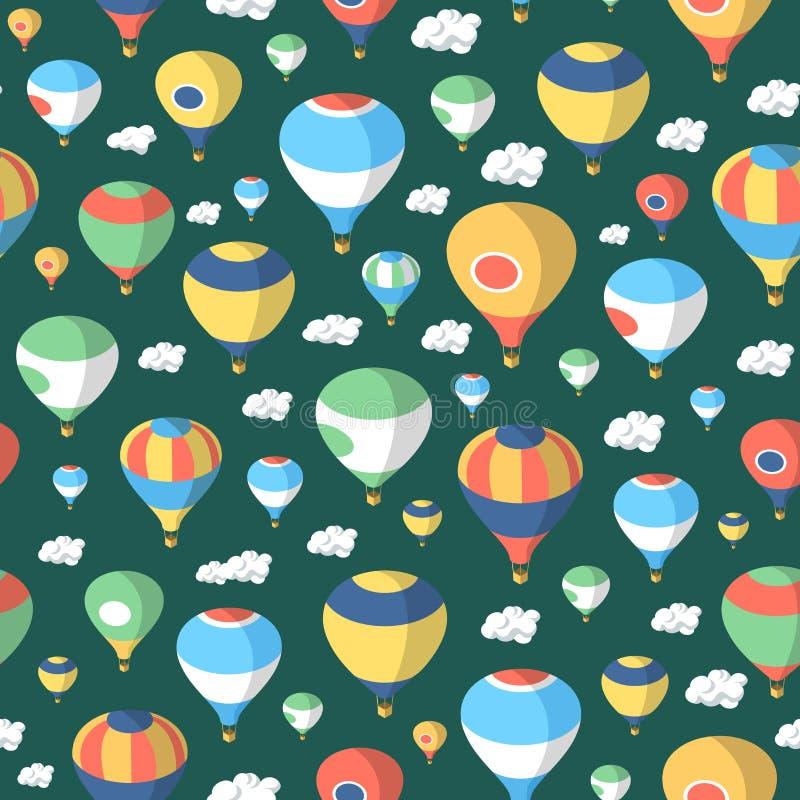 热空气气球–无缝的样式 皇族释放例证