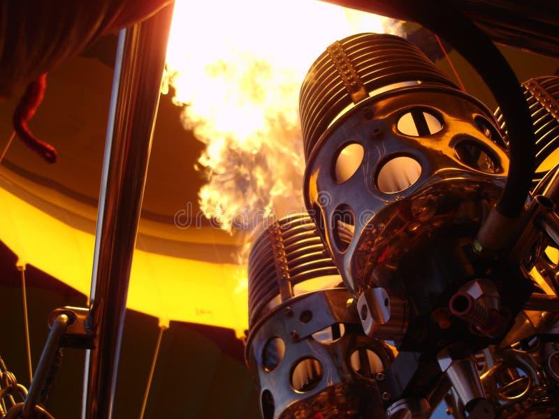 热航空baloon燃烧器灼烧的火焰 免版税库存图片