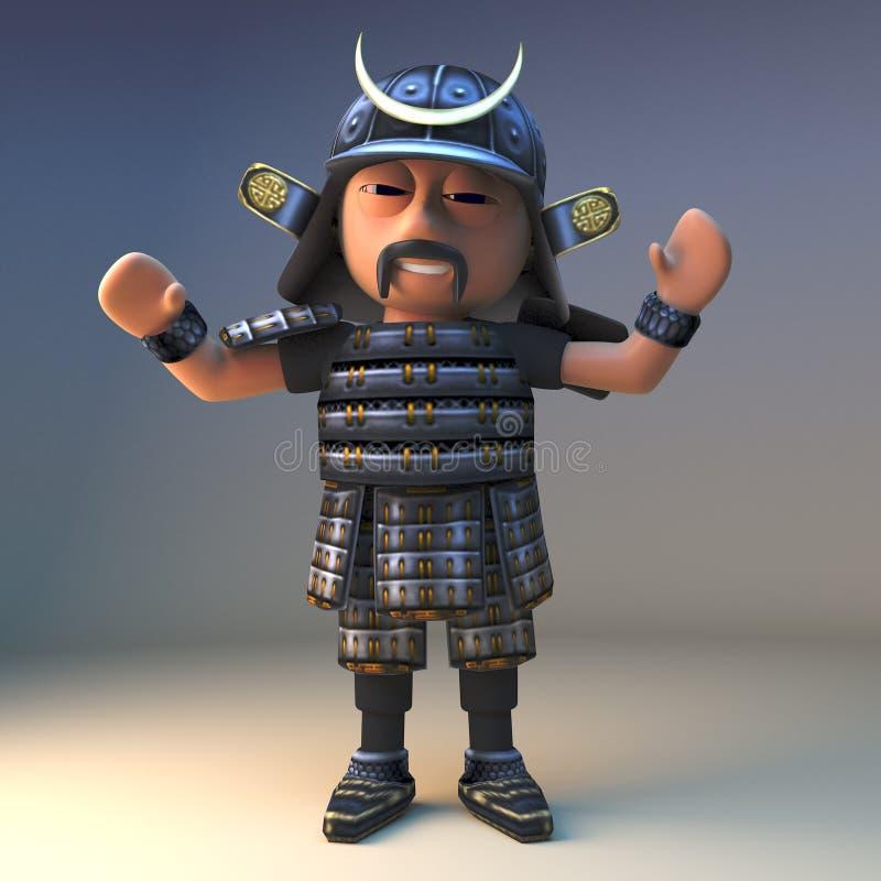热诚高尚的日本武士战士欢呼,3d例证 皇族释放例证