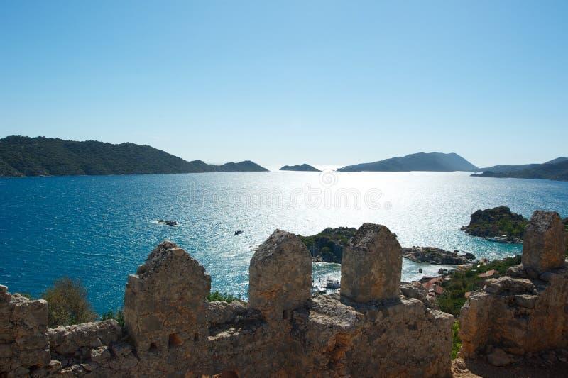 热那亚人的堡垒、山和海在土耳其 免版税库存图片