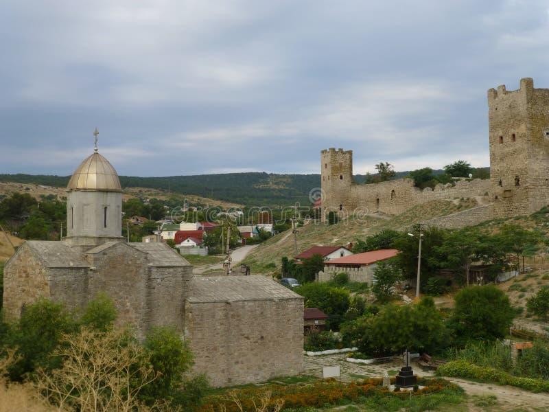 热那亚人的堡垒在Feodosia在克里米亚 免版税库存图片