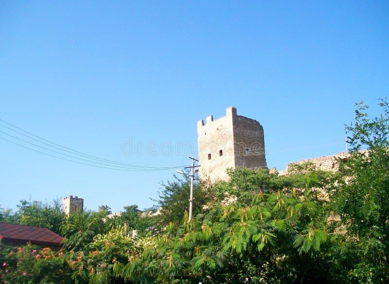 热那亚人的堡垒在Feodosia 库存图片