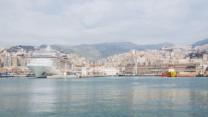 热那亚意大利看法从海的 免版税图库摄影