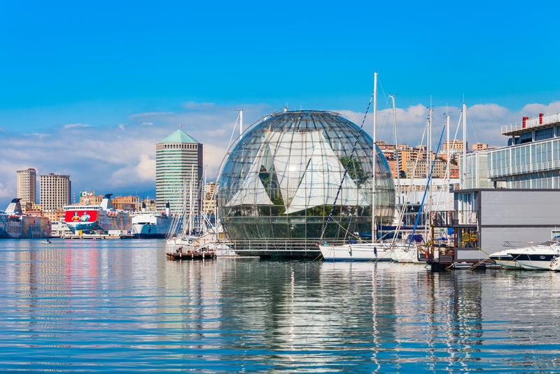 热那亚水族馆,最大在意大利 免版税库存照片