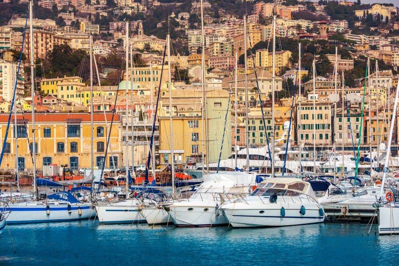 热那亚海口和都市风景 图库摄影