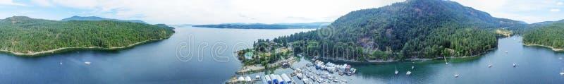 热那亚海湾鸟瞰图在温哥华岛, BC -加拿大 库存图片