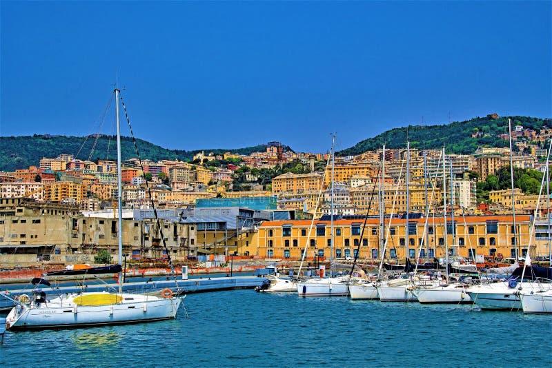 热那亚看法,从港口木板走道,热那亚,利古里亚,意大利 库存照片
