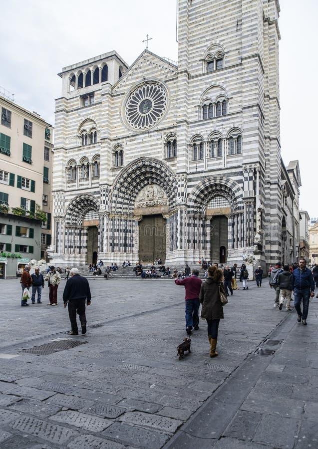 热那亚,利古里亚,意大利,欧洲,大教堂圣劳伦斯 免版税图库摄影