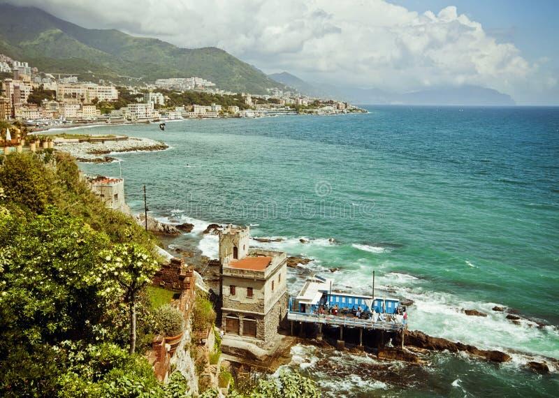 热那亚,意大利-城市海岸线全景在利古里亚的 免版税图库摄影