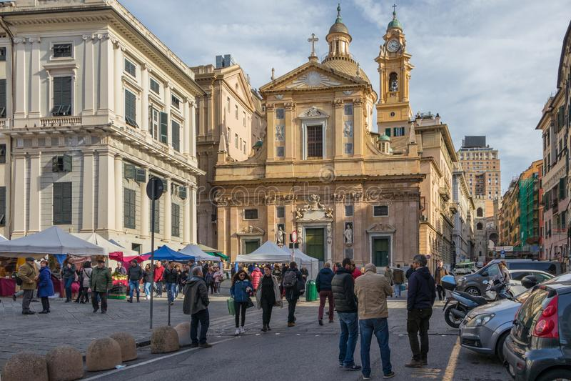 热那亚,意大利- 2019年3月9日:切萨del Gesu e dei桑蒂Ambrogio e安德里亚,一个巴洛克式的教会在热那亚,意大利 图库摄影