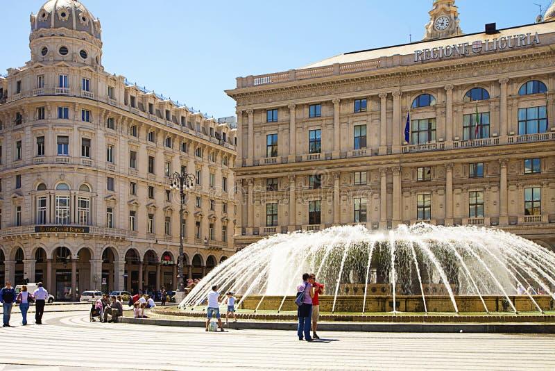 热那亚-意大利, De法拉利广场 免版税库存图片