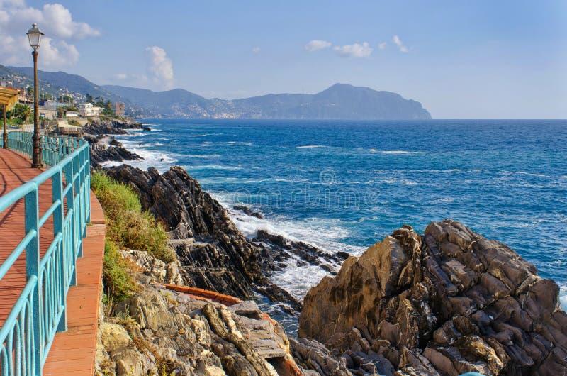 热那亚Nervi沿海岸区散步 免版税库存图片