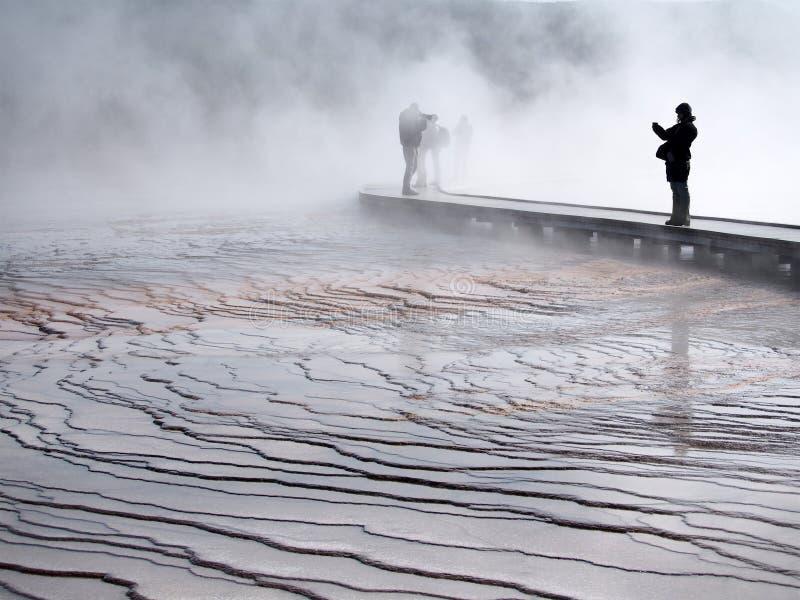 热量水池在nat的黄石 库存图片