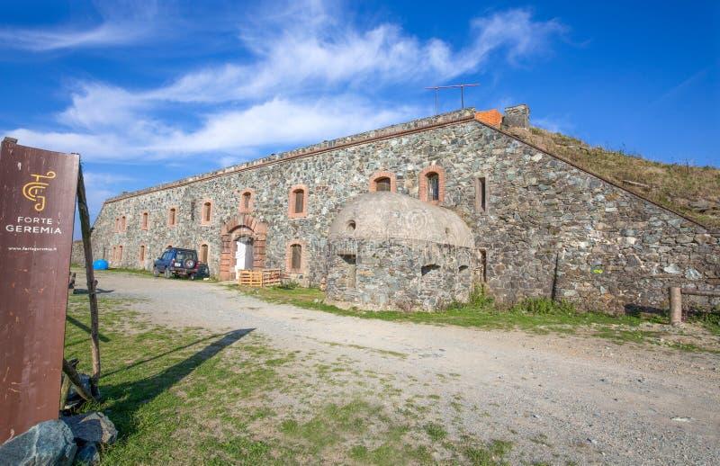 热雷米亚堡垒是西部利古里亚亚平宁山脉,热那亚国内和省,意大利一个军事堡垒  免版税库存图片