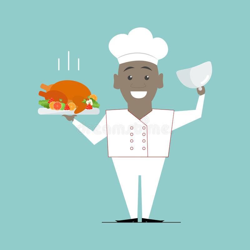 烹调与一个盘的非裔美国人在她的手上 主厨 传染媒介fla 皇族释放例证
