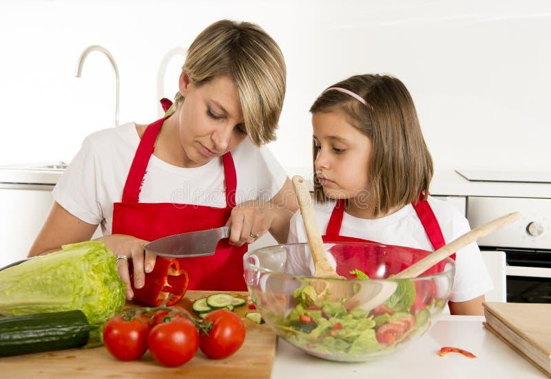 烹调与厨师围裙一起的母亲和小女儿在家准备沙拉厨房 免版税库存照片