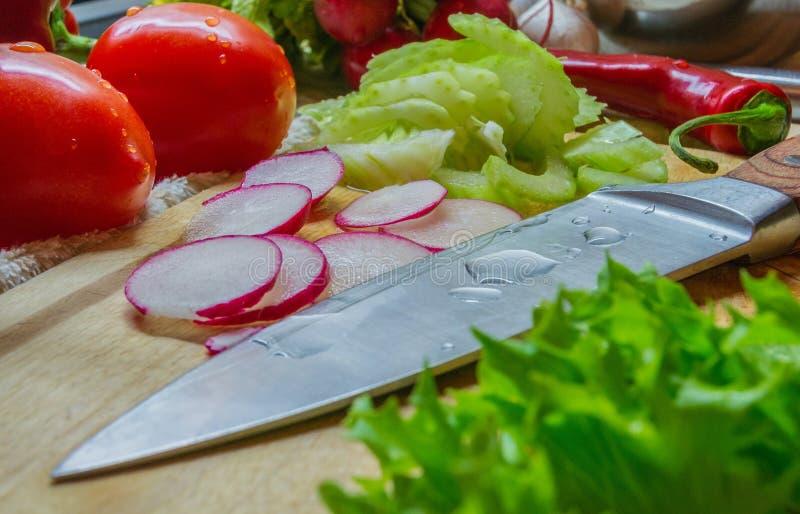 烹调与新鲜蔬菜大计划 库存照片
