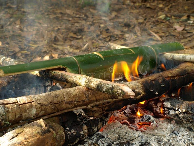 烹调与竹子的米在阵营 免版税库存照片