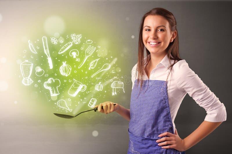 烹调与绿色乱画菜 库存照片