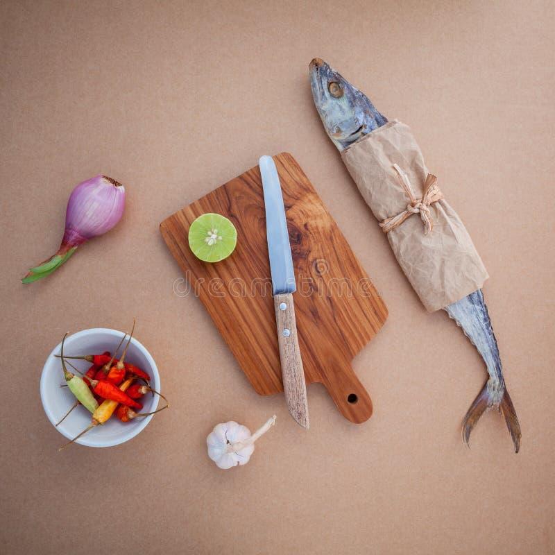 烹调传统泰国食物的Prepare保存了咸鱼sala 免版税库存照片