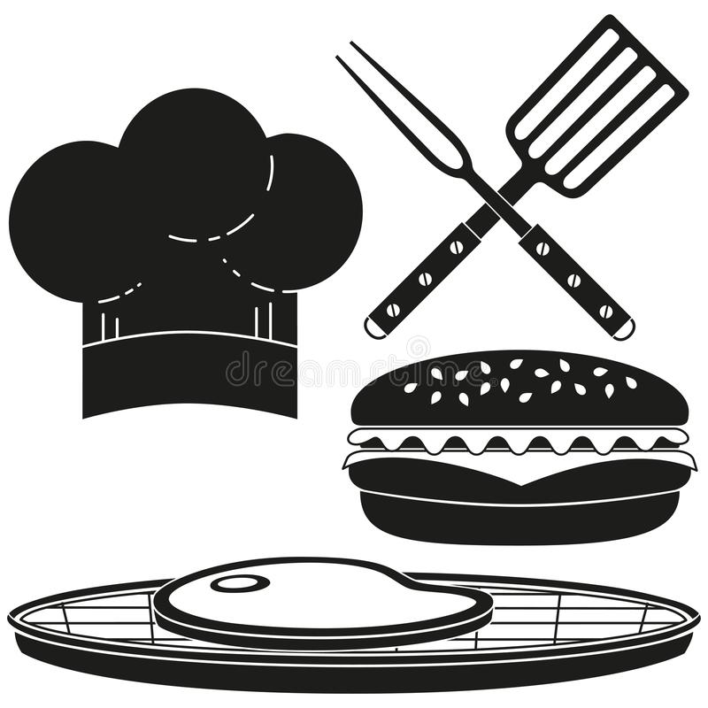 烹调剪影集合的黑白汉堡 库存例证