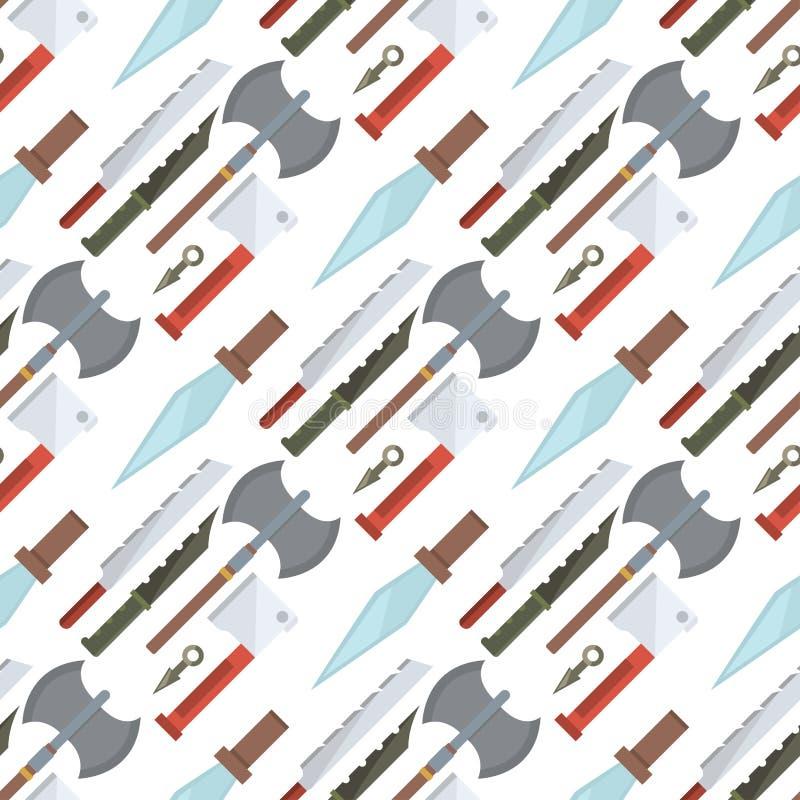 烹调厨师膳食厨房器物午餐剃刀不锈的餐馆刀片的刀子用工具加工无缝的样式背景传染媒介 向量例证