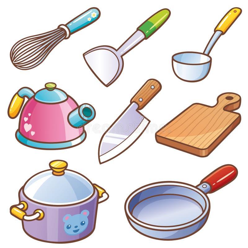 烹调厨房集合工具 库存例证
