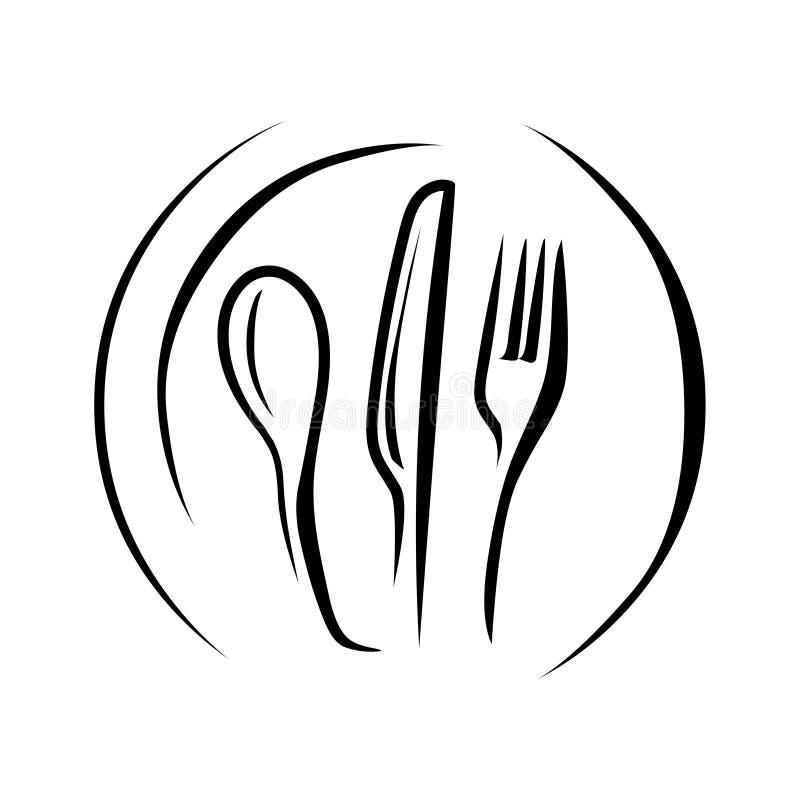 烹调商标 匙子叉子和刀子 皇族释放例证