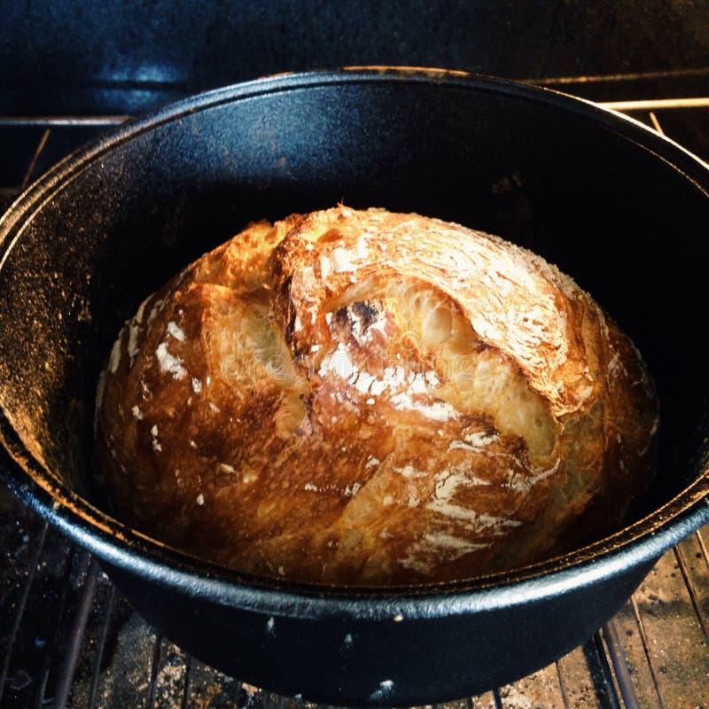 烹调在一个荷兰烘箱的面包 免版税库存图片