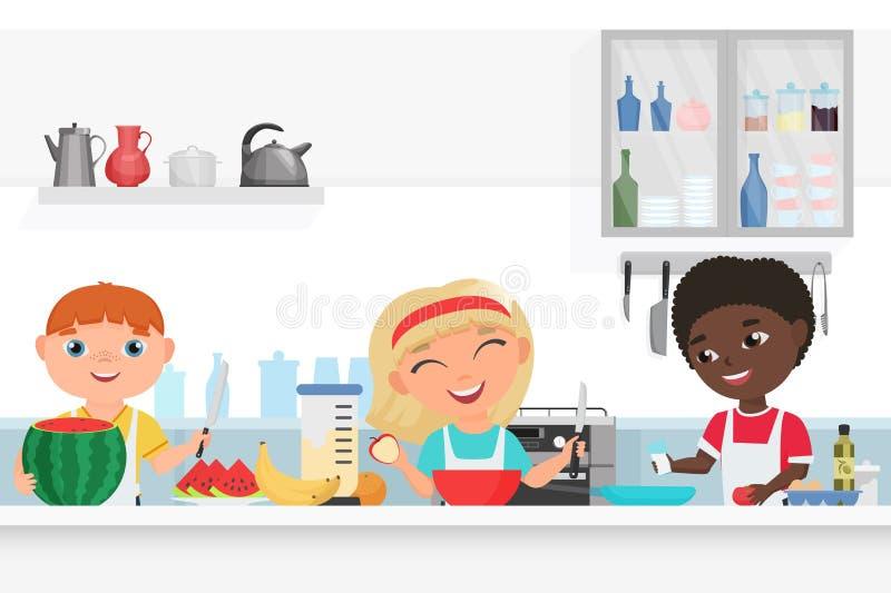 烹调在厨房传染媒介例证的逗人喜爱的男孩和女孩孩子厨师 库存例证