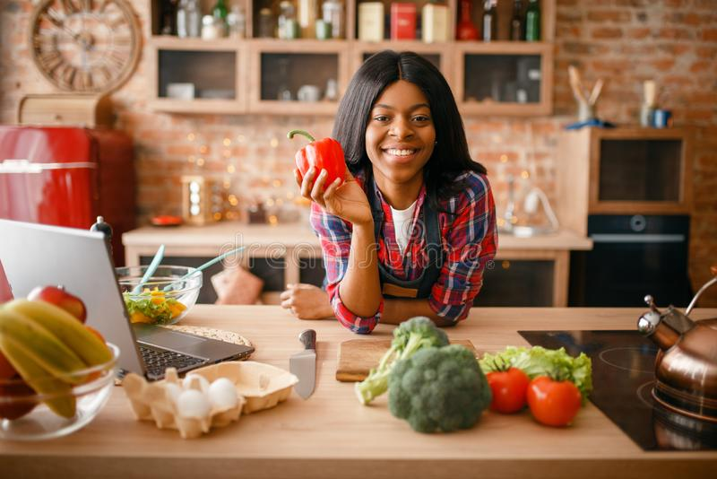 烹调在厨房的快乐的黑人妇女 图库摄影