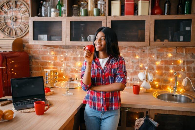 烹调在厨房的快乐的黑人妇女 免版税库存照片