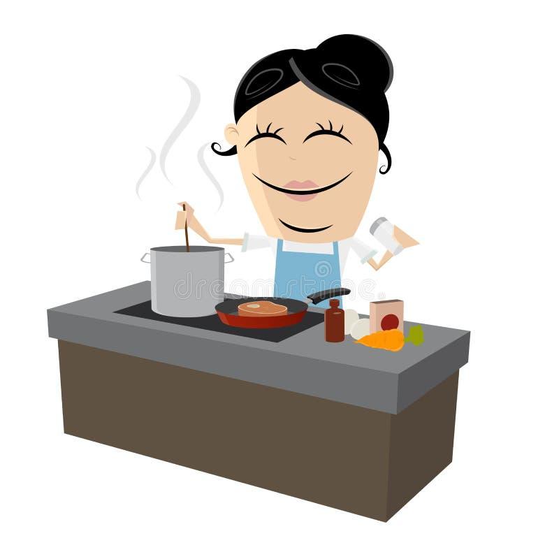 烹调在厨房里 向量例证