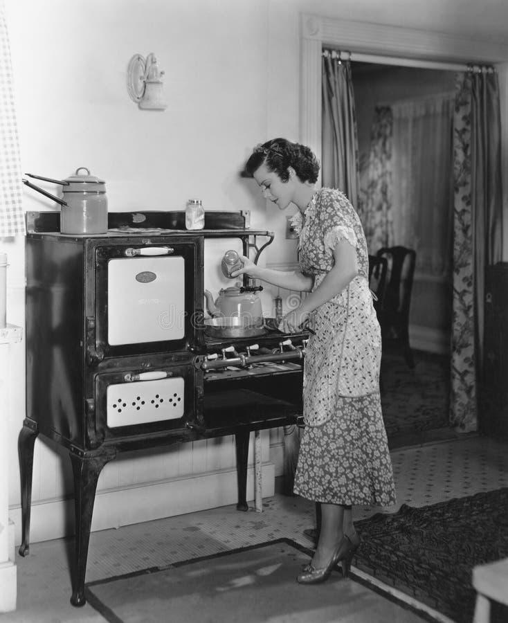 烹调在古色古香的火炉的妇女(所有人被描述不更长生存,并且庄园不存在 供应商保单那里w 库存照片