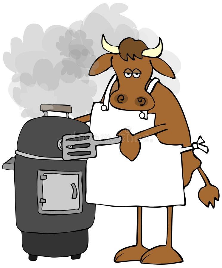 烹调在吸烟者的母牛 皇族释放例证