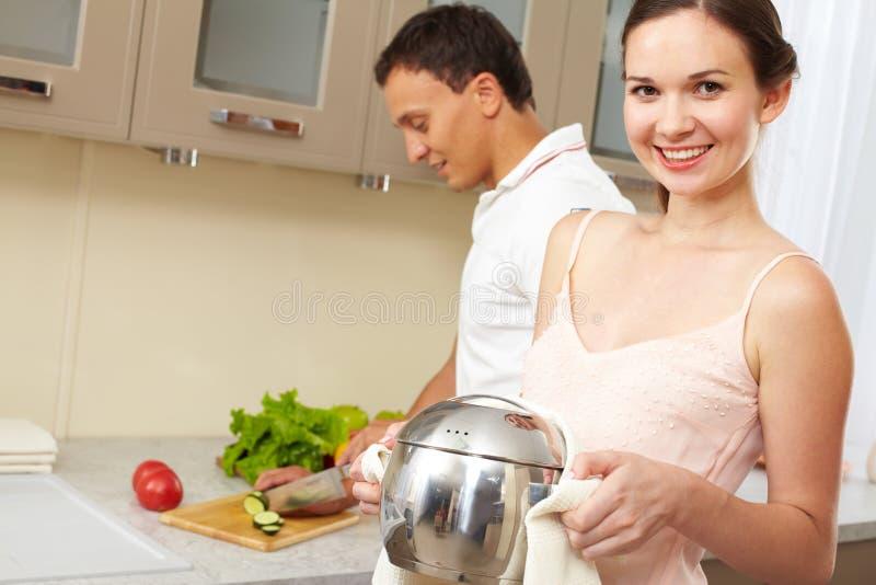 烹调在家 库存图片
