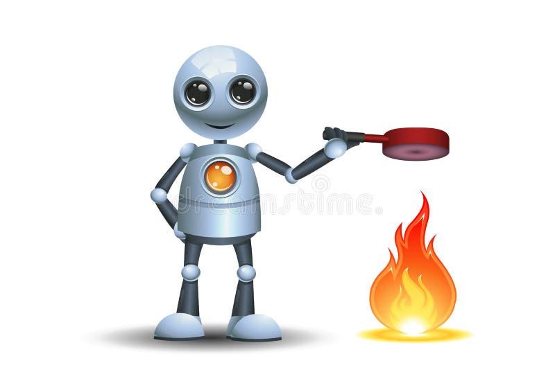 烹调在平底锅的小机器人厨师 向量例证