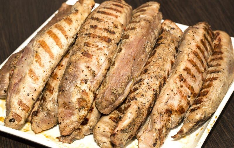 烹调在格栅的肉 免版税库存图片