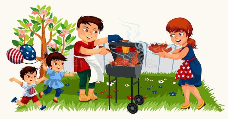 烹调在烤肉的愉快的父母鲜美晚餐 皇族释放例证