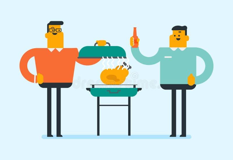 烹调在烤肉的白种人人鸡 向量例证
