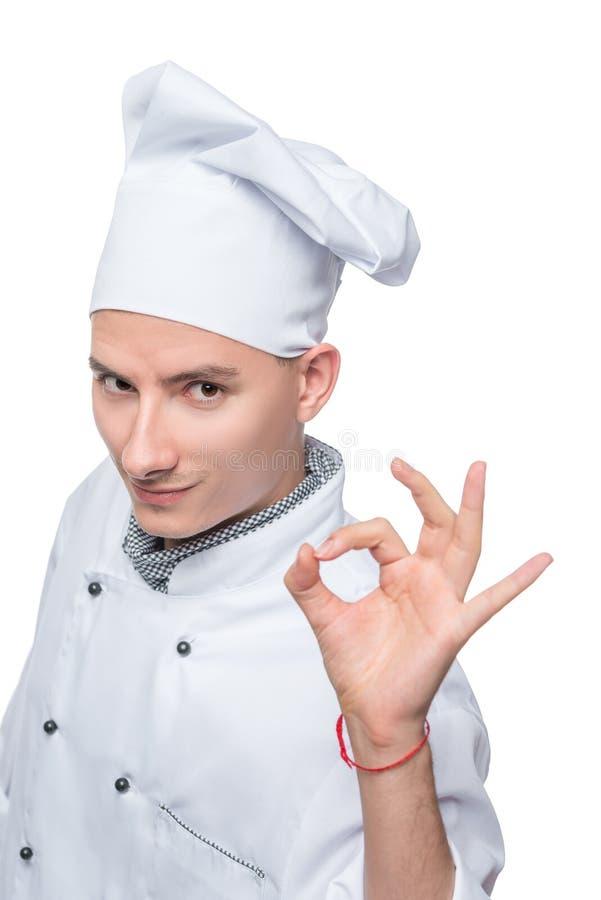 烹调在白色背景的手势 免版税库存照片
