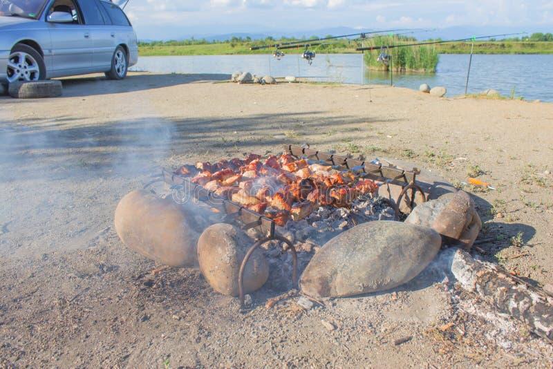 烹调在金属串的烤开胃kebab Shashlik做了肉立方体  钓鱼冒险,放松 免版税库存照片
