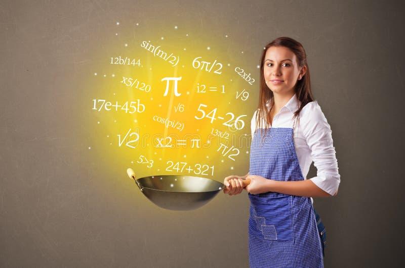 烹调在铁锅的数字 免版税图库摄影