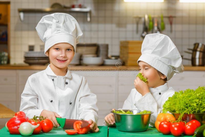 烹调在餐馆的滑稽的愉快的厨师男孩. 健康, 主厨.