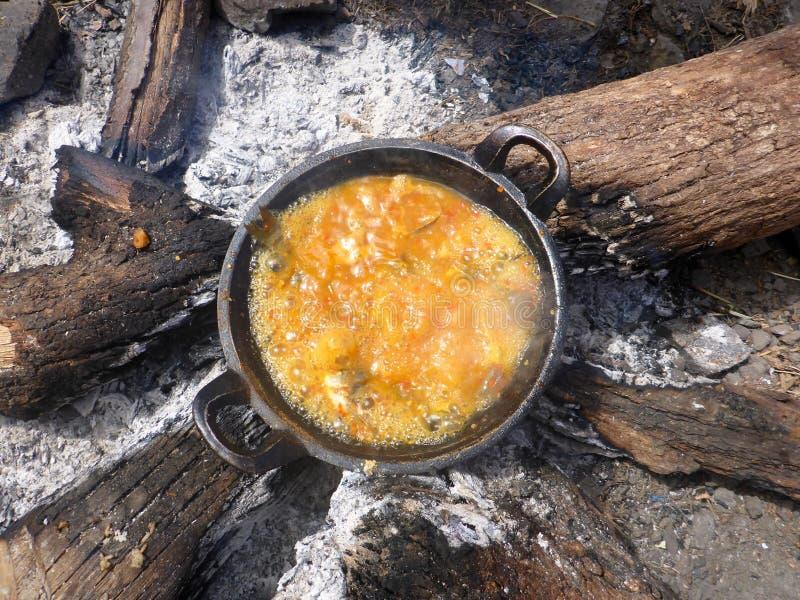 烹调外面在Rinjani lombok,印度尼西亚 库存照片