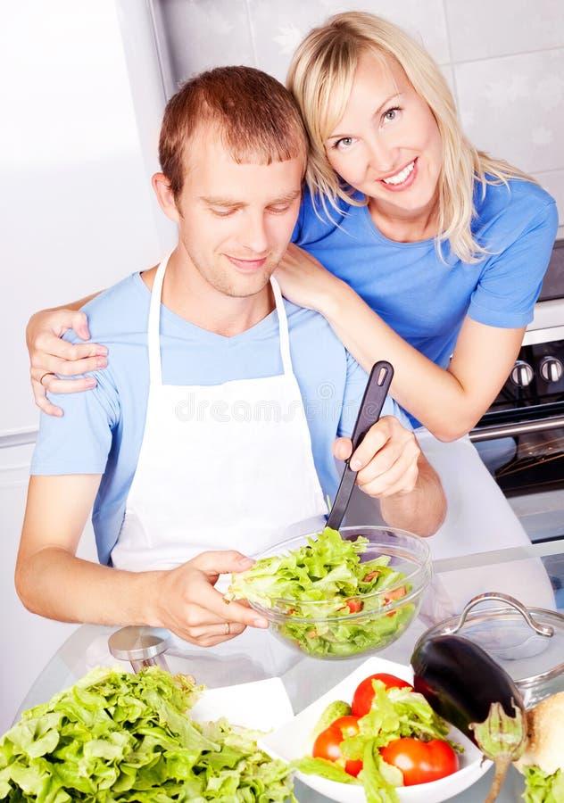 烹调夫妇 免版税库存照片