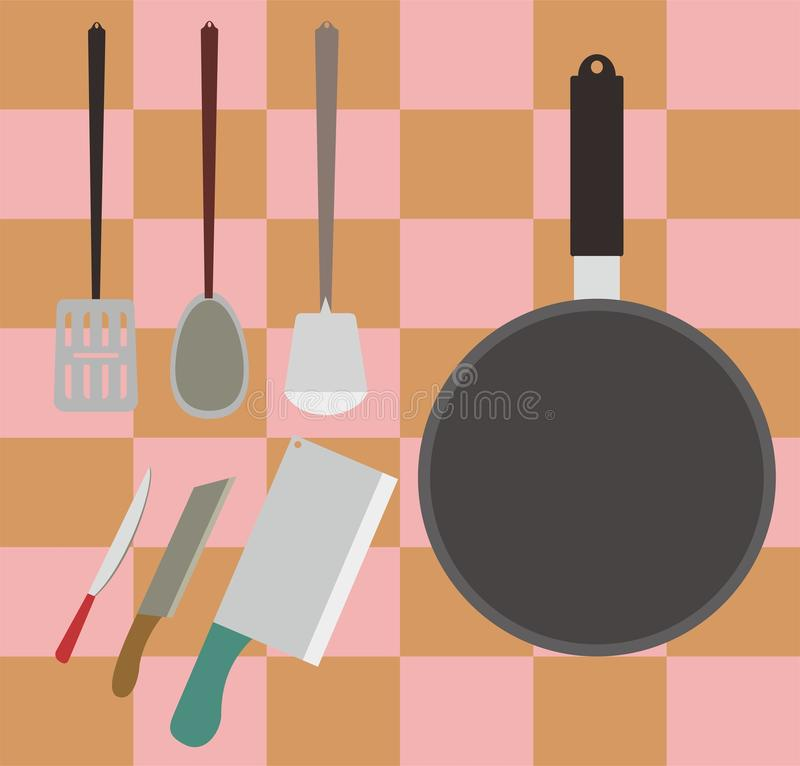 烹调工具或设备材料在厨房传染媒介例证的 库存例证